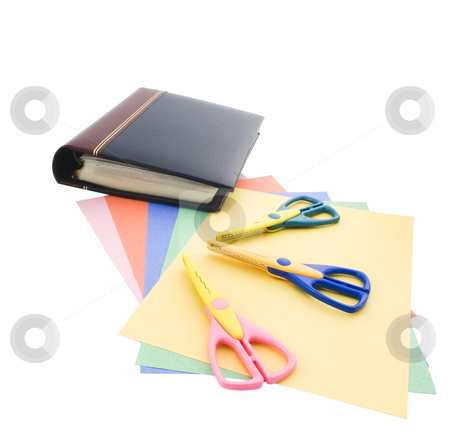 Scrap Booking Materials stock photo, Scrap booking materials on a white background by John Teeter