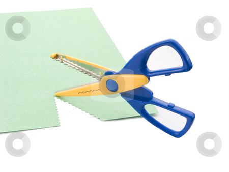 Scrapbooking scissors and paper stock photo, Scrapbooking scissors and paper on a white background by John Teeter