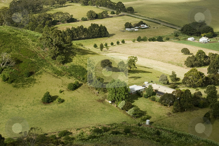 Small Rural Farms stock photo, View from above of a patchwork of fields and small farmsteads by Stephen Gibson