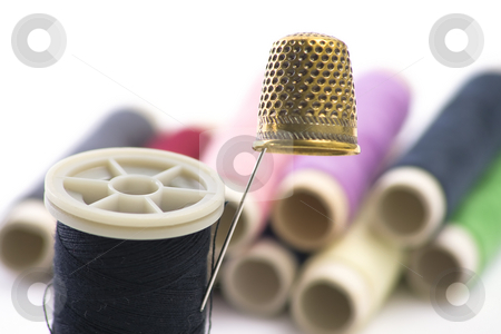 Sewing Supplies stock photo, Sewing Supplies with threads on background by Paulo Resende