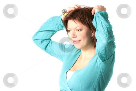 Smiling woman stock photo, Amazed smiling woman isolated over white by Natalia Macheda