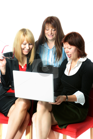 Business-presentation stock photo, Three businesswoman discussing presentation isolated on white by Natalia Macheda
