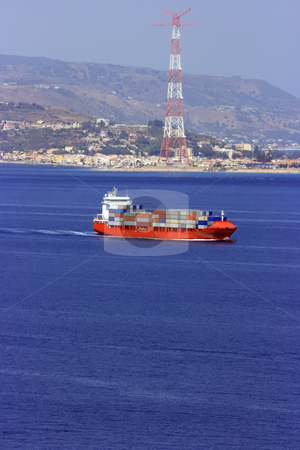 Container cargo ship stock photo, Container cargo ship against Charybdis by Natalia Macheda