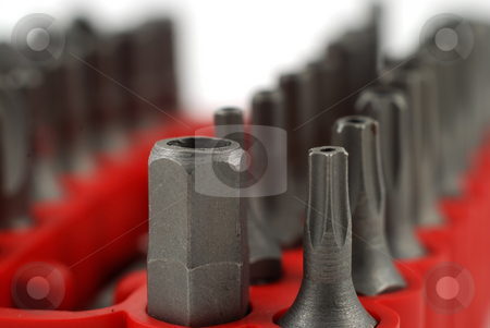 Small bits stock photo, Stock pictures of interchangable screw tips in screwdrivers by Albert Lozano