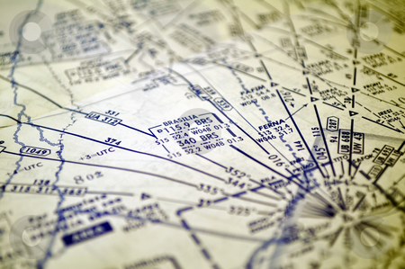 Air navigation: map of Brazil (Brasilia area) stock photo, Air navigation chart: airways in the Brasilia area. by Fernando Barozza