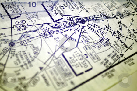 Air navigation chart stock photo, Air navigation chart: airways over the Argentina-Uruguay border. by Fernando Barozza