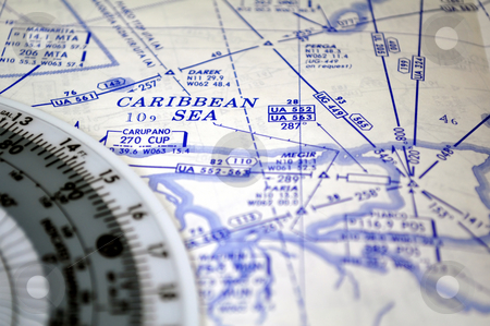 Air navigation: map of the Caribbean Sea stock photo, Air navigation chart: airways and waypoints over the Caribbean Sea. by Fernando Barozza