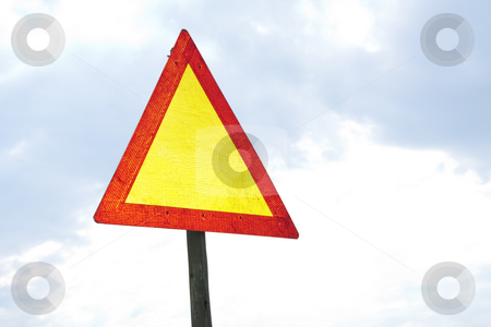 Blank road warning sign stock photo, Road sign - blank by Chris Alleaume