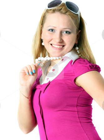 Smiling young woman stock photo, Smiling young woman with funny accessories by Natalia Macheda