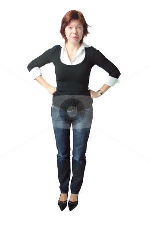 Isolated business woman stock photo, Isolated full-length shot of a funny business woman by Natalia Macheda