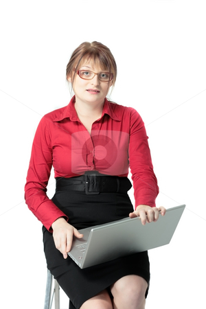 Yong business woman stock photo, Yong business woman with laptop isolated on white by Natalia Macheda