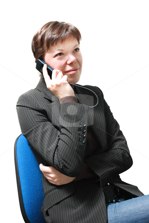 Woman talking on phone stock photo, Young woman talkin on phone isolated on white by Natalia Macheda