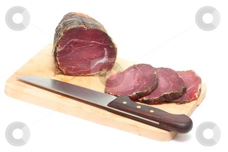 Cut capricollo stock photo, Capricollo - traditional italian bacon typical for Aspromonte of Calabria by Natalia Macheda
