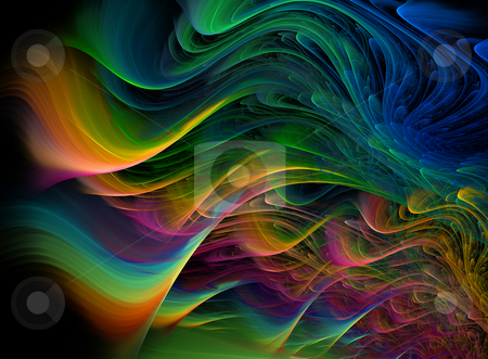 Fractal multicolored waves stock photo, Abstract background illustration of fractal multicolored waves by Natalia Macheda