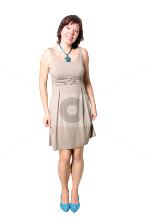 Elegant isolated woman stock photo, Isolated full-length shot of a beautiful caucasian woman with elegant dress by Natalia Macheda