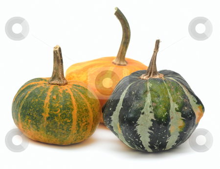 Three fancy pumpkins isolated over white stock photo, Three fancy pumpkins isolated over white by Natalia Macheda
