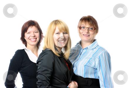 Three businesswomen stock photo, Three smiling businesswomen isolated on white by Natalia Macheda