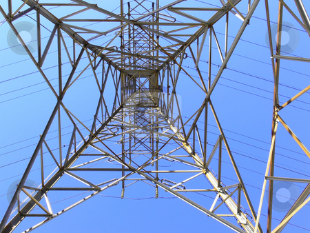 Hydro tower. stock photo, A hydro tower under blue sky. Photo taken strait up in the middle of the tower. by Horst Petzold