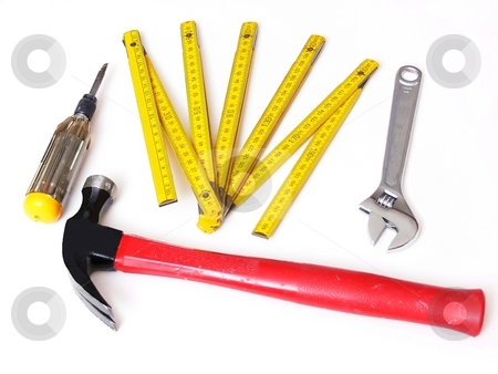Tools over white. stock photo, Home renovation tools on white background. by Horst Petzold