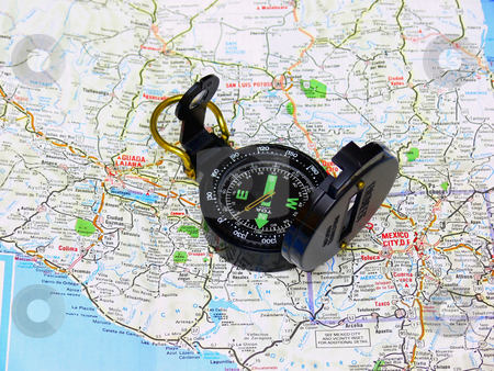 Map with compass. stock photo, A map from Mexico with an compass in preparation for an trip to south America. by Horst Petzold