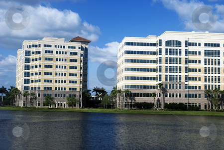 Office complex stock photo, Office buildings in an industrial complex by Robert Cabrera