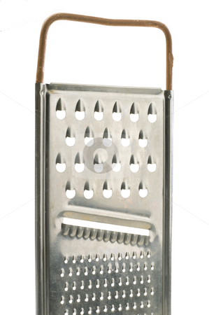 Cheese grater stock photo, Cheese grater isolated on white background by Jonathan Hull