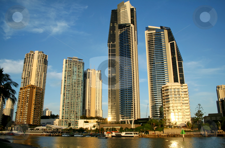 Surfers Paradise Skyline stock photo, View of Surfers Paradise Australia skyline South of the Chevron Bridge. by Brett Mulcahy