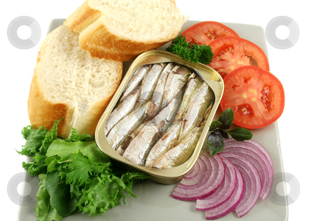 Sardines And Salad stock photo, Sardines with bread, red onion, tomato, lettuce. and red basil. by Brett Mulcahy