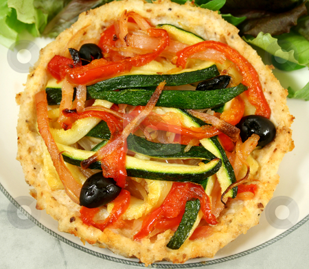 Vegetable And Ricotta Tart  stock photo, Delicious Mediterranean style vegetable and ricotta tart with salad. by Brett Mulcahy