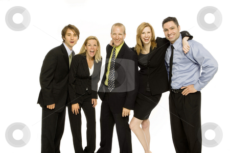 Business people stand together stock photo, Four business people stand together as a team by Rick Becker-Leckrone