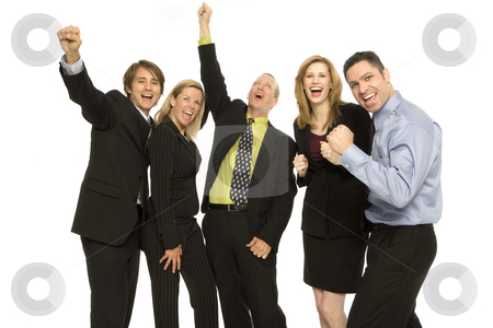 Business people stand excited stock photo, Five business people stand together with excitement by Rick Becker-Leckrone