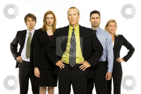 Business workers stand together stock photo, Business workers stand with pride against a white background by Rick Becker-Leckrone