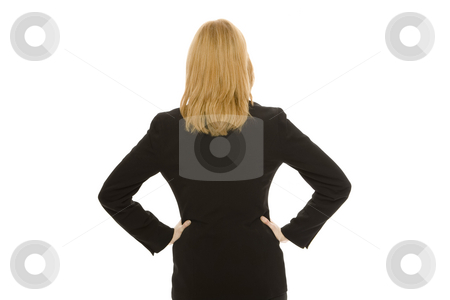 Businesswoman faces away stock photo, Businesswoman in a suit faces away against a white background by Rick Becker-Leckrone