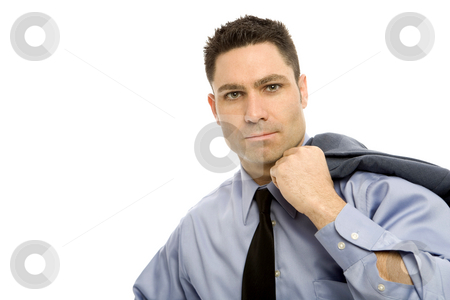 Businessman in suit stock photo, Businessman in a suit stands holding a jacket by Rick Becker-Leckrone