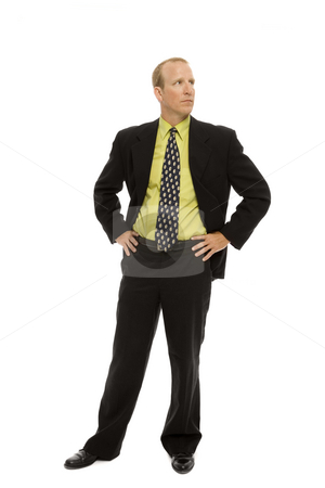 Confident businessman stock photo, Businessman in a suit stands with confidence by Rick Becker-Leckrone