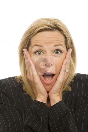 Businesswoman gestures shame stock photo, Businesswoman in a suit gestures shame with her hands by Rick Becker-Leckrone