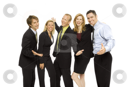 Business people stand together stock photo, Five business people stand together happily by Rick Becker-Leckrone