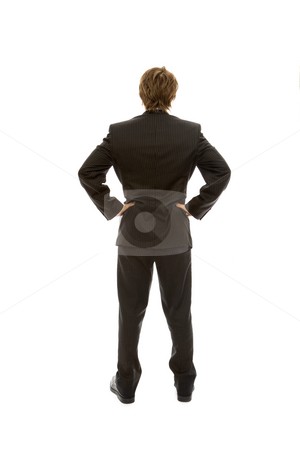 Businessman faces away stock photo, Businessman in a suit faces away with confidence by Rick Becker-Leckrone