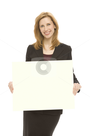 Businesswoman with yellow board stock photo, A businesswoman hold up a yellow board by Rick Becker-Leckrone