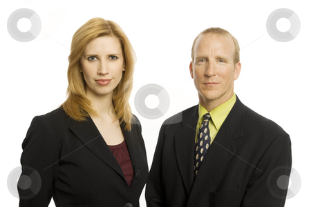 Two business people stock photo, Two business people stand together against a white background by Rick Becker-Leckrone