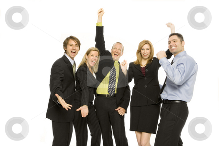 Business people stand excited stock photo, Five business people gesture excitement together by Rick Becker-Leckrone