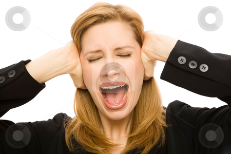 Businesswoman covers ears stock photo, Businesswoman frantically covers her ears by Rick Becker-Leckrone