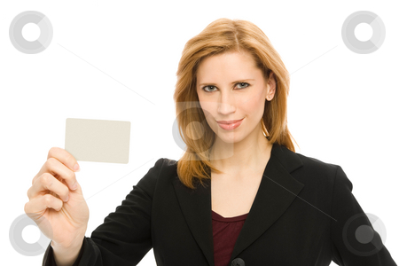 Businesswoma with credit card stock photo, Businesswoman holds up a credit card confidently by Rick Becker-Leckrone