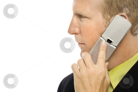 Businessman with cellular phone stock photo, Businessman in a suit uses a cellular phone by Rick Becker-Leckrone