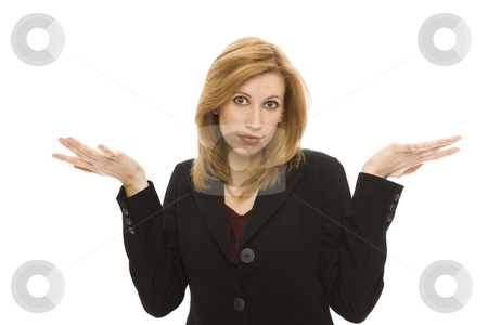 Businesswoman gestures confusion stock photo, Businesswoman gestures confusion with her hands by Rick Becker-Leckrone