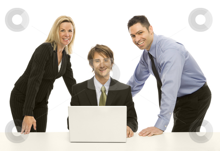 Businesspeople share a laptop stock photo, Three businesspeople share a laptop by Rick Becker-Leckrone