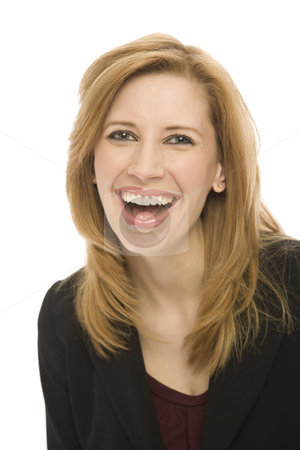 Businesswoman laughts stock photo, Businesswoman in a suit laughs against a white background by Rick Becker-Leckrone