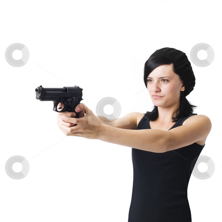 Girl with gun stock photo, A pissed teen aims a handgun in anger by Rick Becker-Leckrone