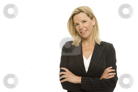 Businesswoman with confidence stock photo, Blonde businesswoman crosses her arms with confidence by Rick Becker-Leckrone