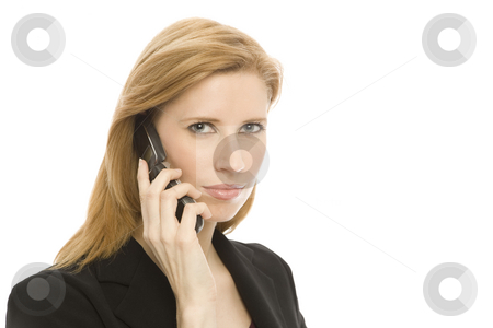 Businesswoman with cellphone stock photo, Businesswoman in a suit uses a cell phone by Rick Becker-Leckrone